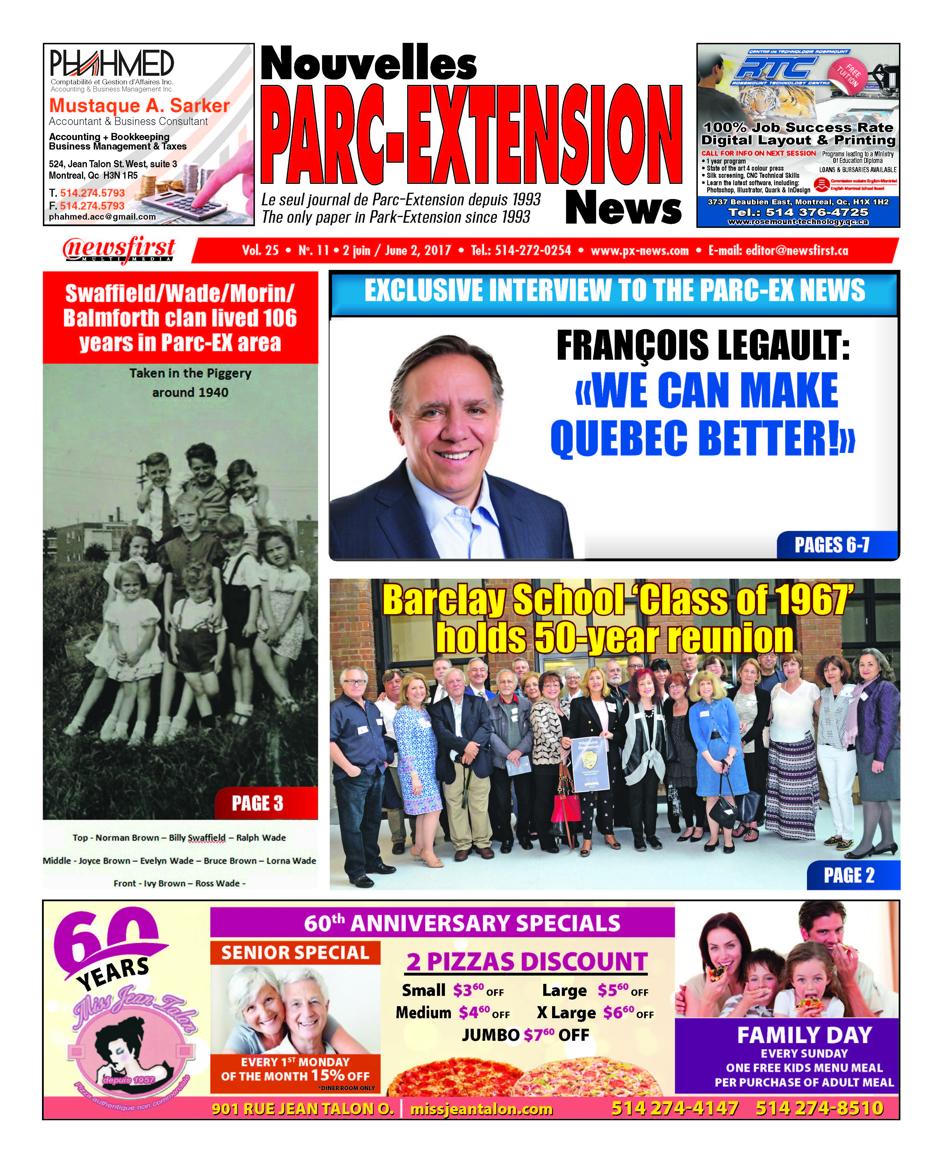 Front page image of the Parc-Extension News Volume 25-11