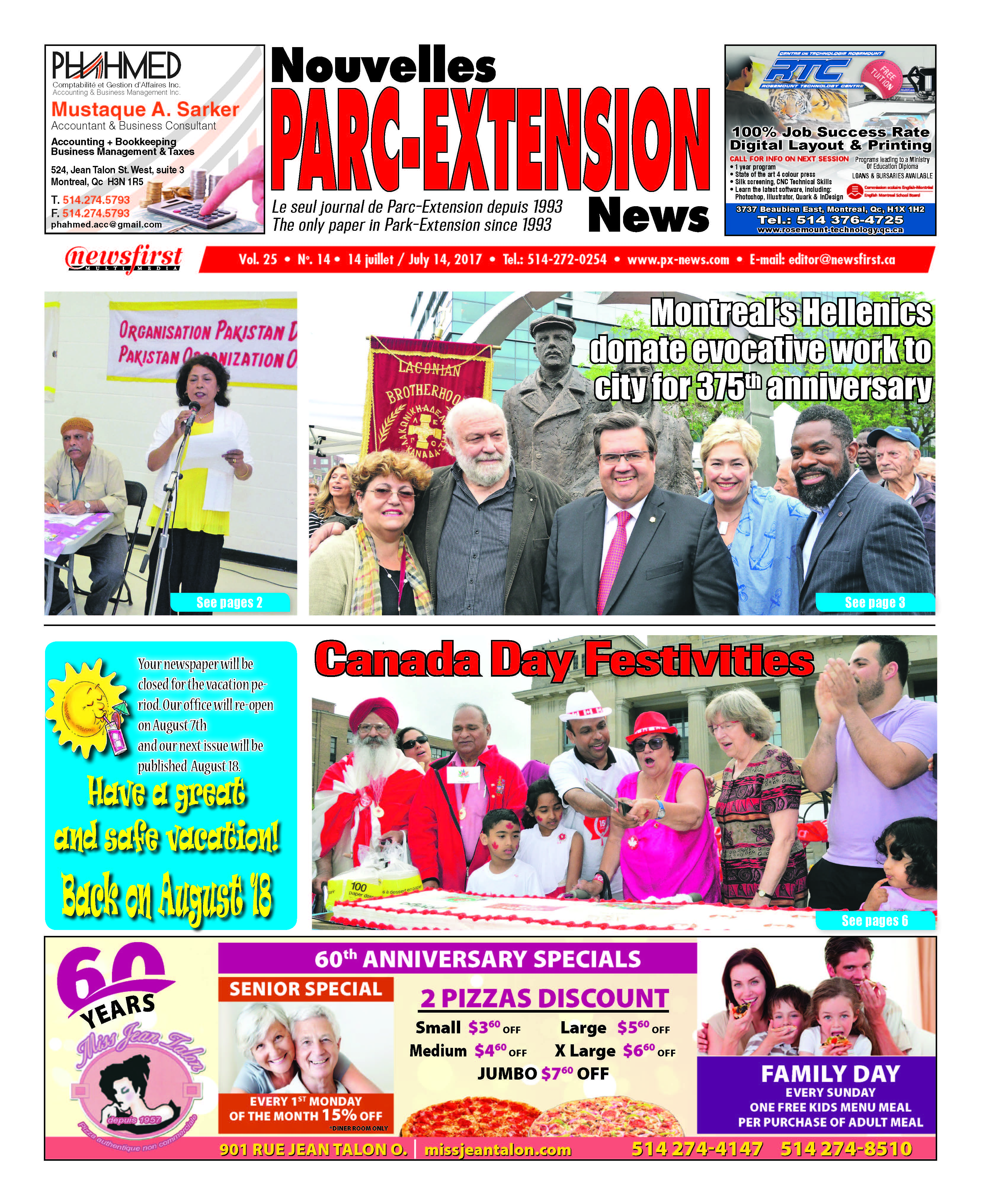 Front page image of the Parc-Extension News Volume 25-14