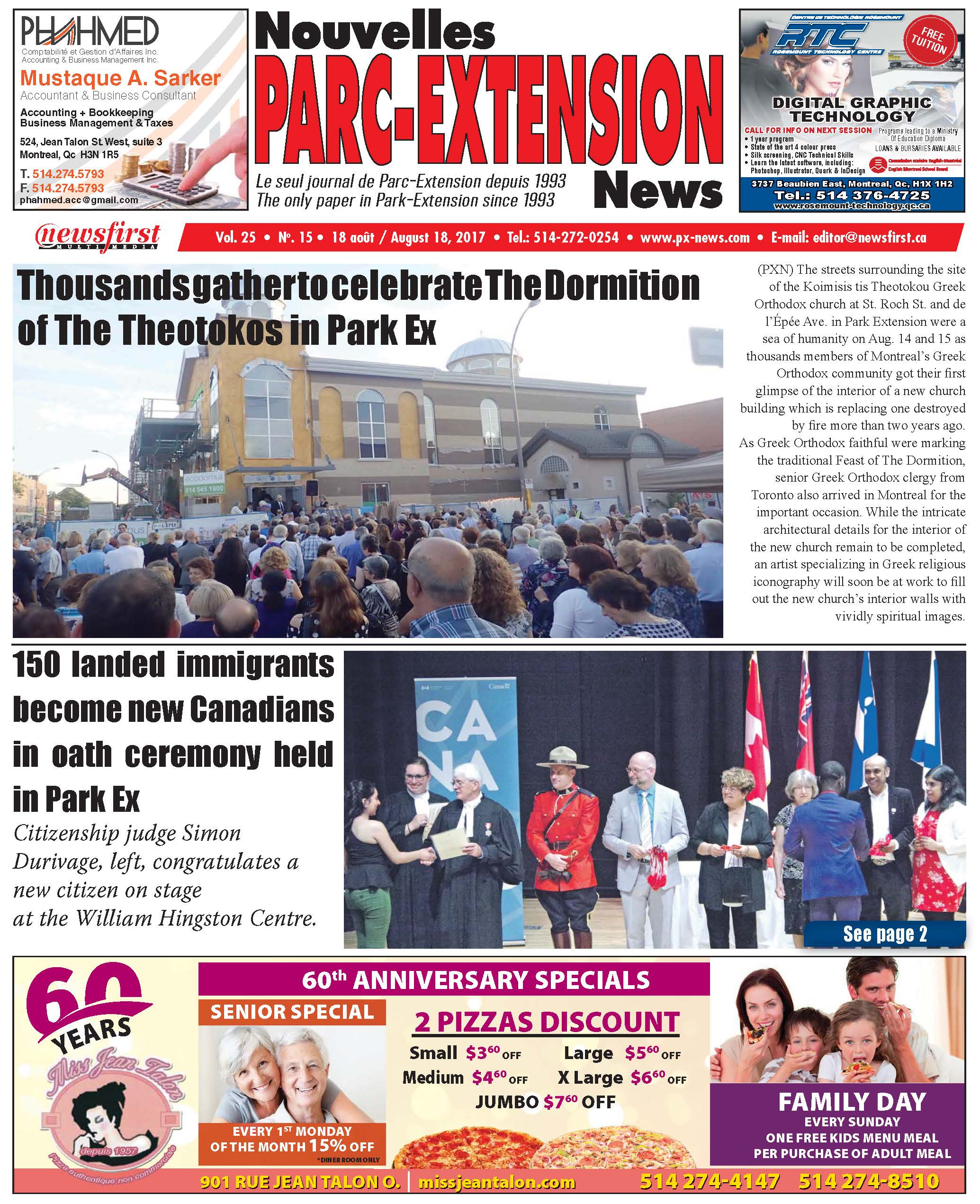 Front page image of the Parc-Extension News Volume 25-15