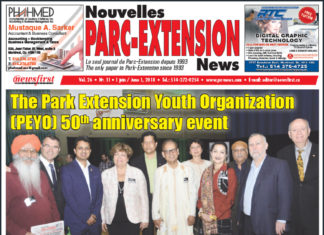 Front Page Image of the Parc Extension News 26-11