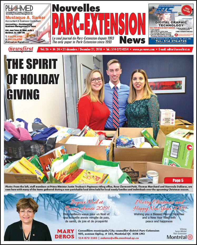 Front Page Image of the Parc Extension News 26-24.