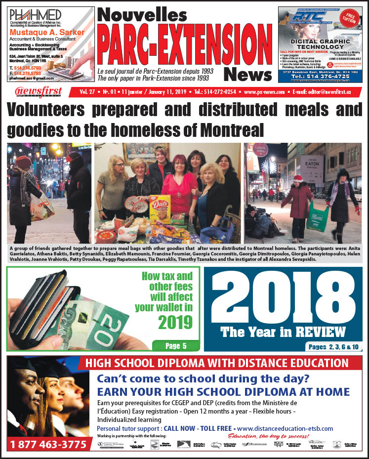 Front Page Image of the Parc Extension News 27-01.