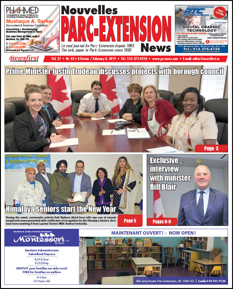 Front Page Image of the Parc Extension News 27-03.