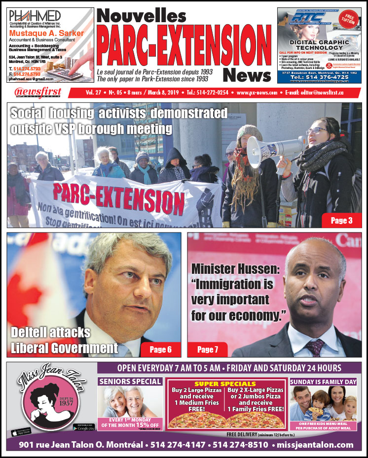 Front Page Image of the Parc Extension News 27-05.