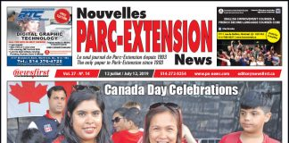 Front Page Image of the Parc Extension News 27-14.