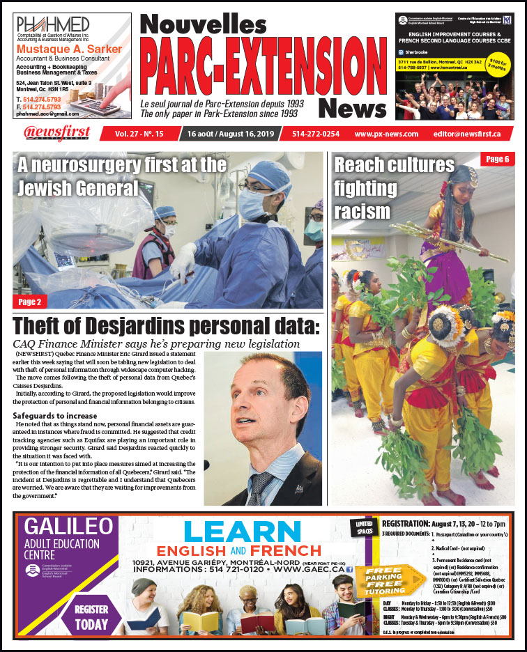 Front Page Image of the Parc Extension News 27-15.