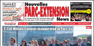 Front Page of the Parc Extension News 27-18
