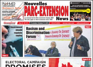 Front Page of the Parc Extension News 27-19