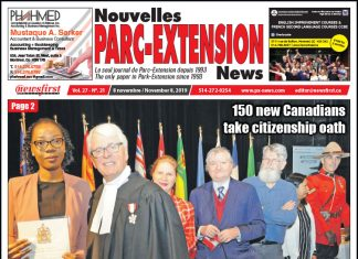 Front Page of the Parc Extension News 27-21