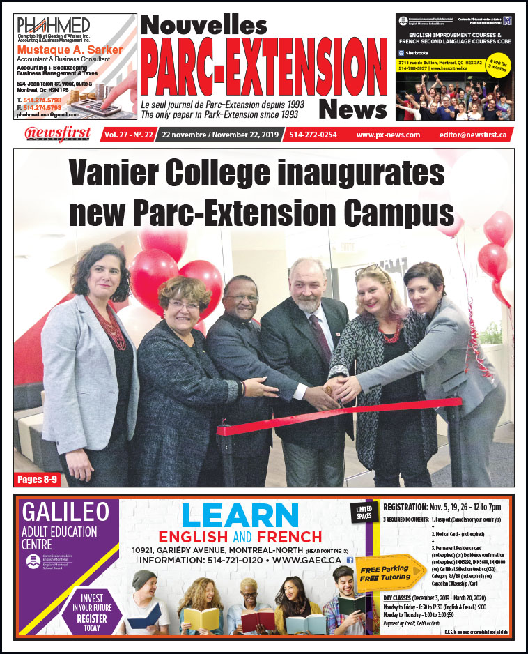 Front Page of the Parc Extension News 27-22