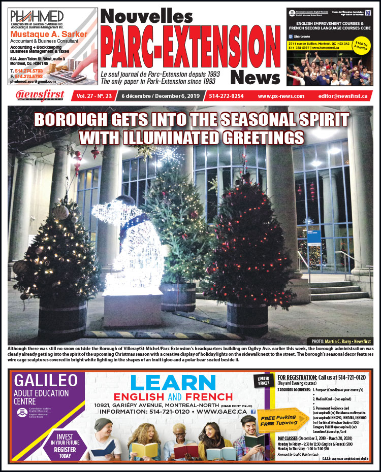 Front Page of the Parc Extension News 27-23