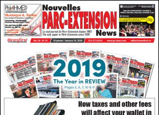 Front Page of the Parc Extension News 28-01