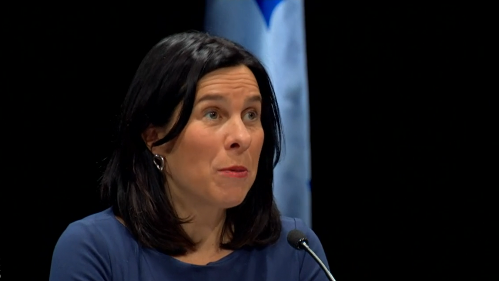 Montreal mayor Valerie Plante speaking at a press briefing on the coronavirus (COVID-19) pandemic emergency on May 14. Photo: Screenshots / CBC