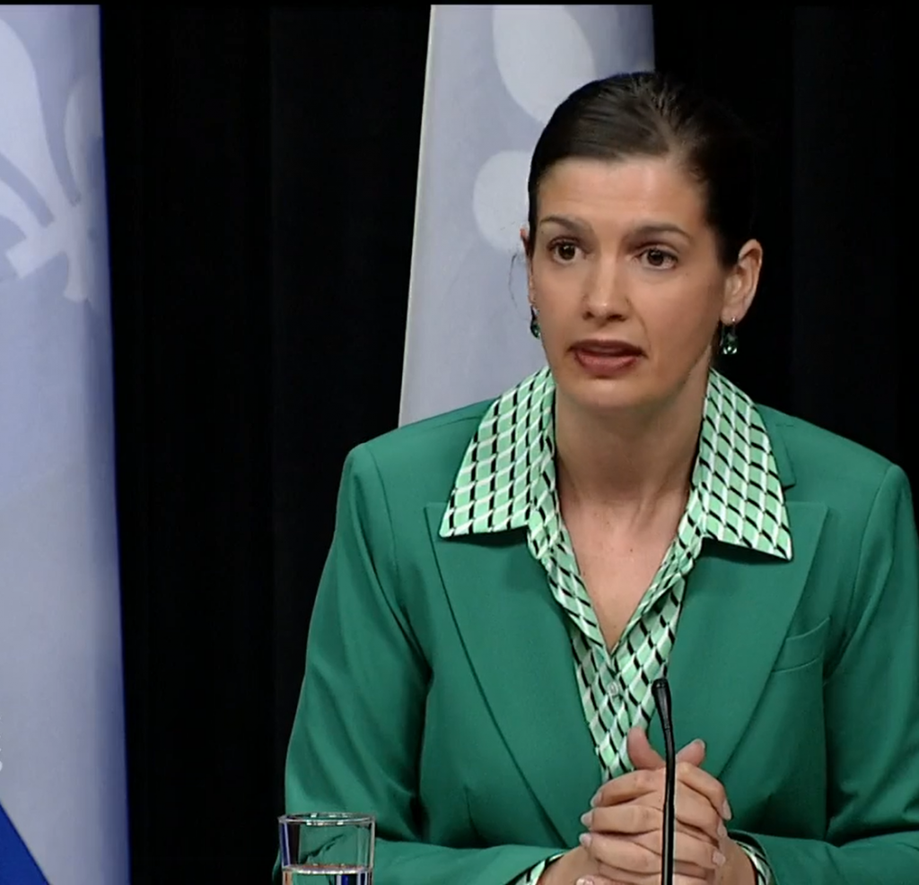 Quebec Deputy Premier Genevieve Guilbault announces reopening dates and deconfirment measures during the May 20 coronavirus (COVID-19) emergency press briefing.