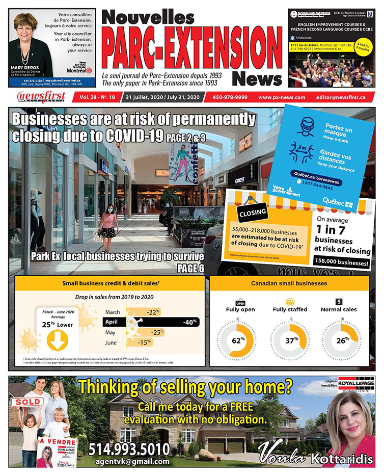 Parc-Extension News. front page image